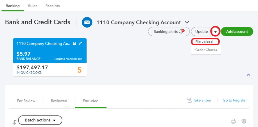 Selecting File upload from the Banking Center in QuickBooks Online