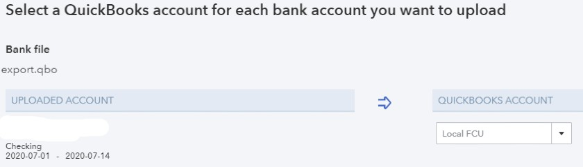Select a QuickBooks Account