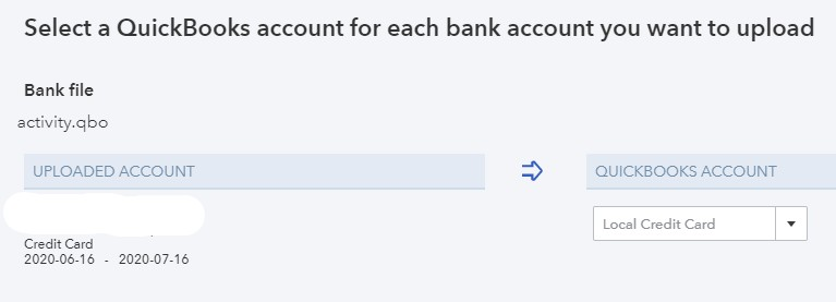 Selecting an account to record imported transactions in QuickBooks Online