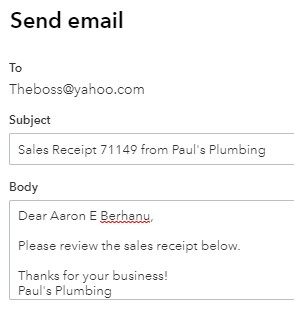 Email message for sales receipt in QuickBooks Online