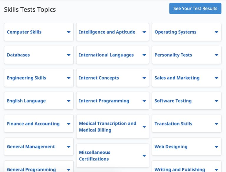 Screenshot of Flexjob skills tests topics
