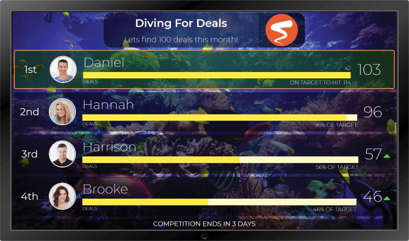 Spinify Diving For Deals leaderboard example