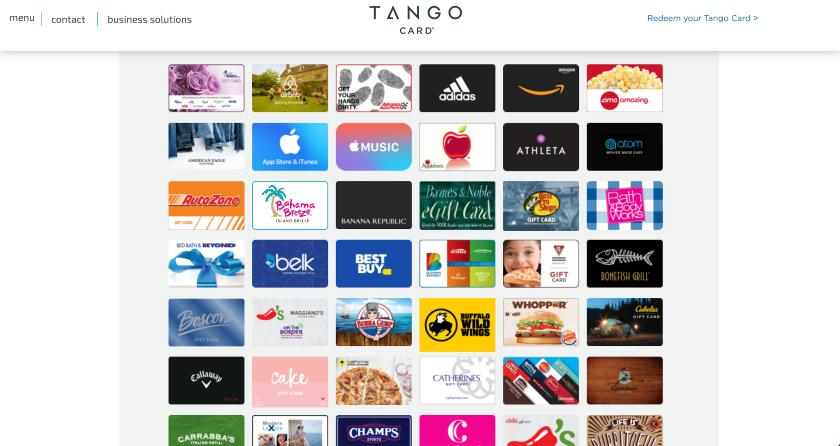 Tango Card Reward Library digital gift cards