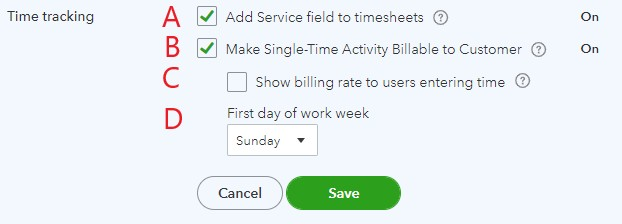Time tracking settings in QuickBooks Online
