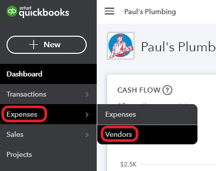 Navigate to the vendor center in QuickBooks Online