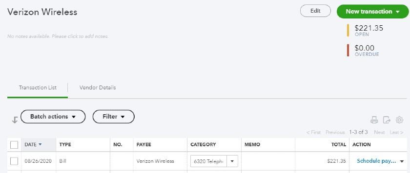 Vendor transaction list in QuickBooks online