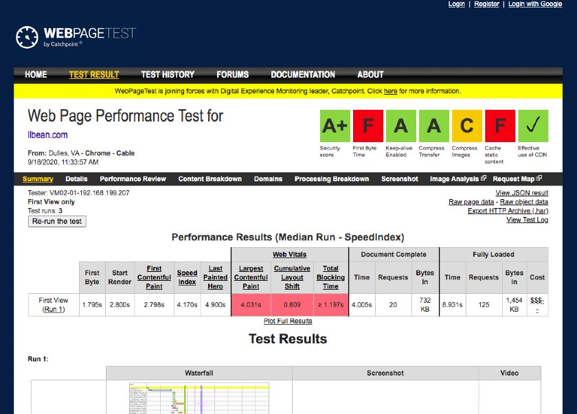 Web Page Website Performance Test Interface