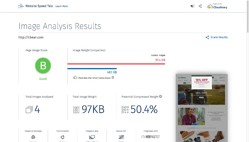 Website Speed Test - Image Analysis Results example