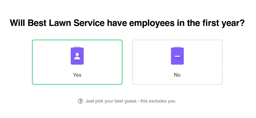 Screenshot Will The Business Have Employees in the First Year