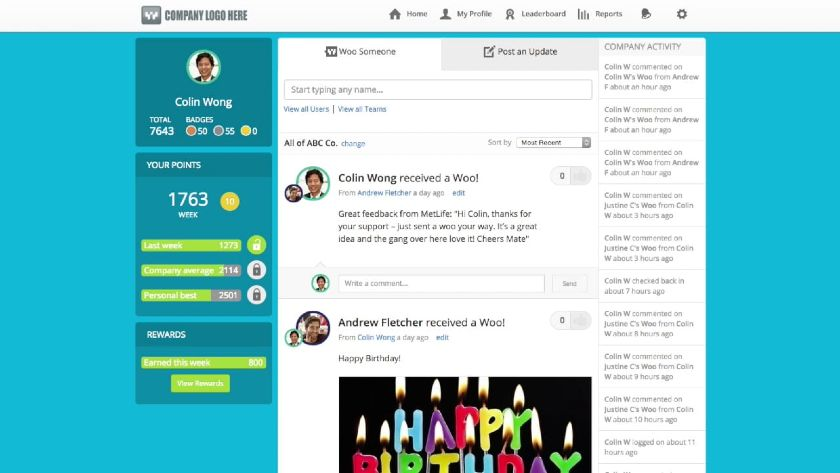 WooBoard Social Recognition Profile Interface