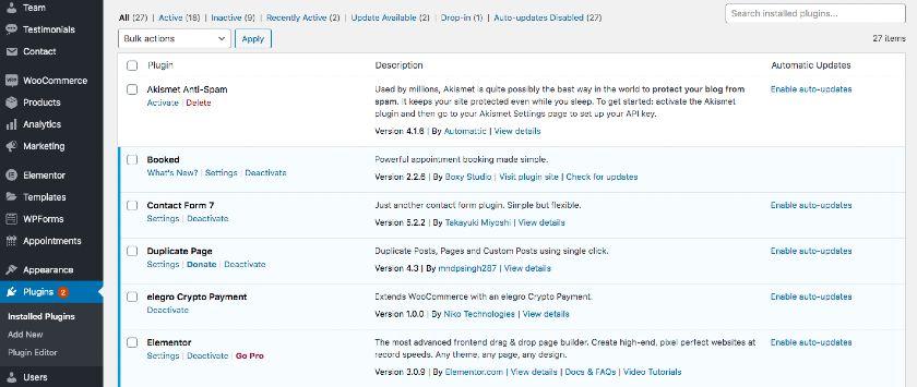 Installed WordPress Plugins List
