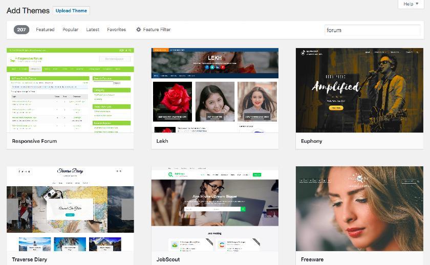 Screenshot of Browsing and Adding theme in WordPress