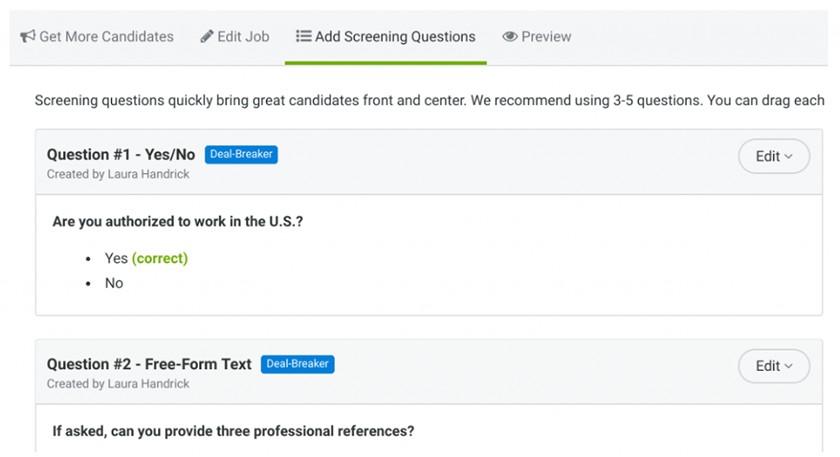Screenshot of ZipRecruiter's custom screening questions