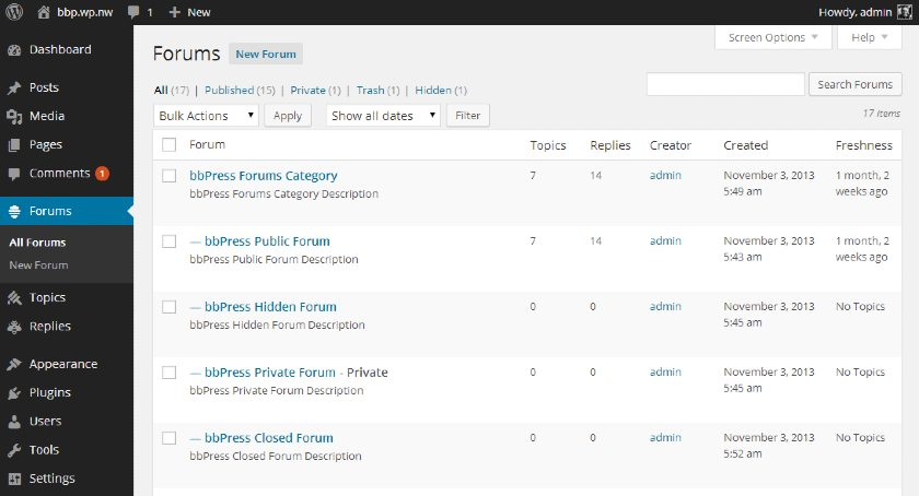 Screenshot of bbPress Forums Tab Interface in WordPress