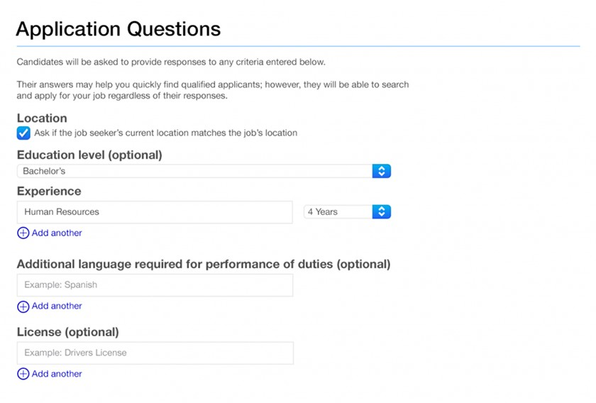 Screenshot of Indeed Application Questions
