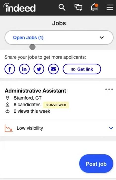Screenshot of Indeed Mobile Recruiting