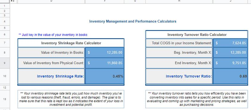 Screenshot of inventory performance calculator