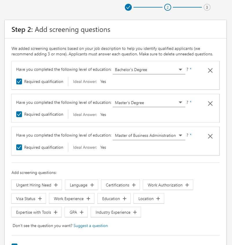 Screenshot of Add ng Screening Questions