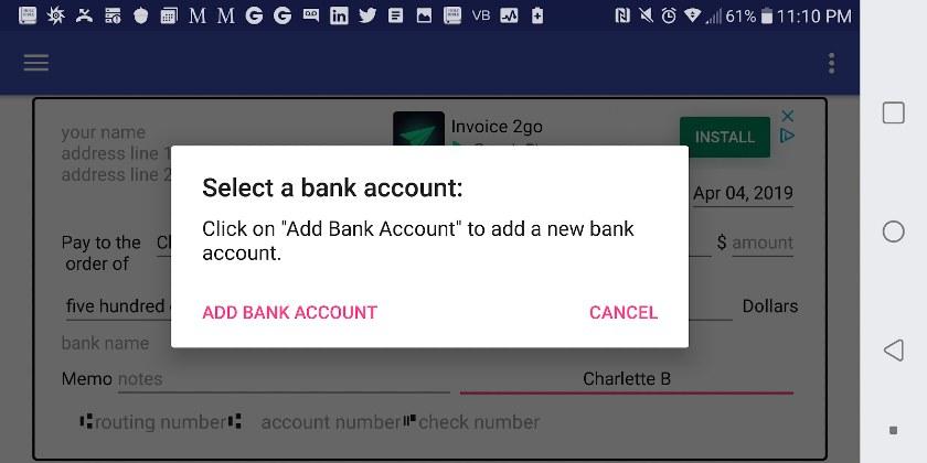 Screenshot of Adding a Bank Account Info