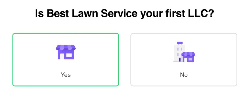 Screenshot of Best Lawn Service Business Name Confirmation