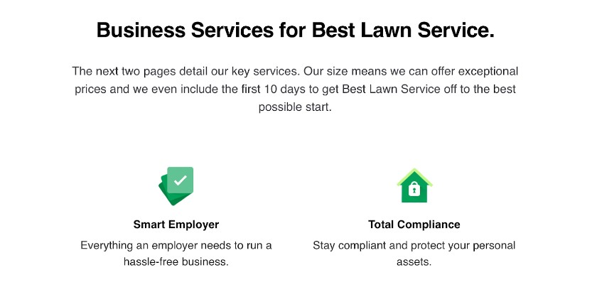 Screenshot of Business Services for Best Lawn Service