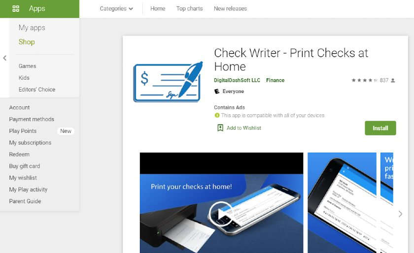 Screenshot of Check Writer App on Google Play