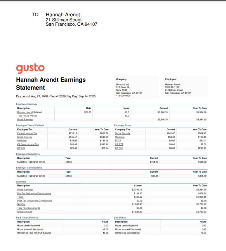 Screenshot of Checks Printed with Gusto