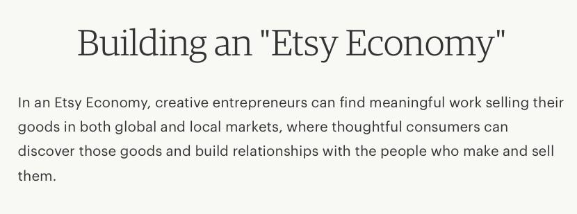 Screenshot of Etsy Vision Statement