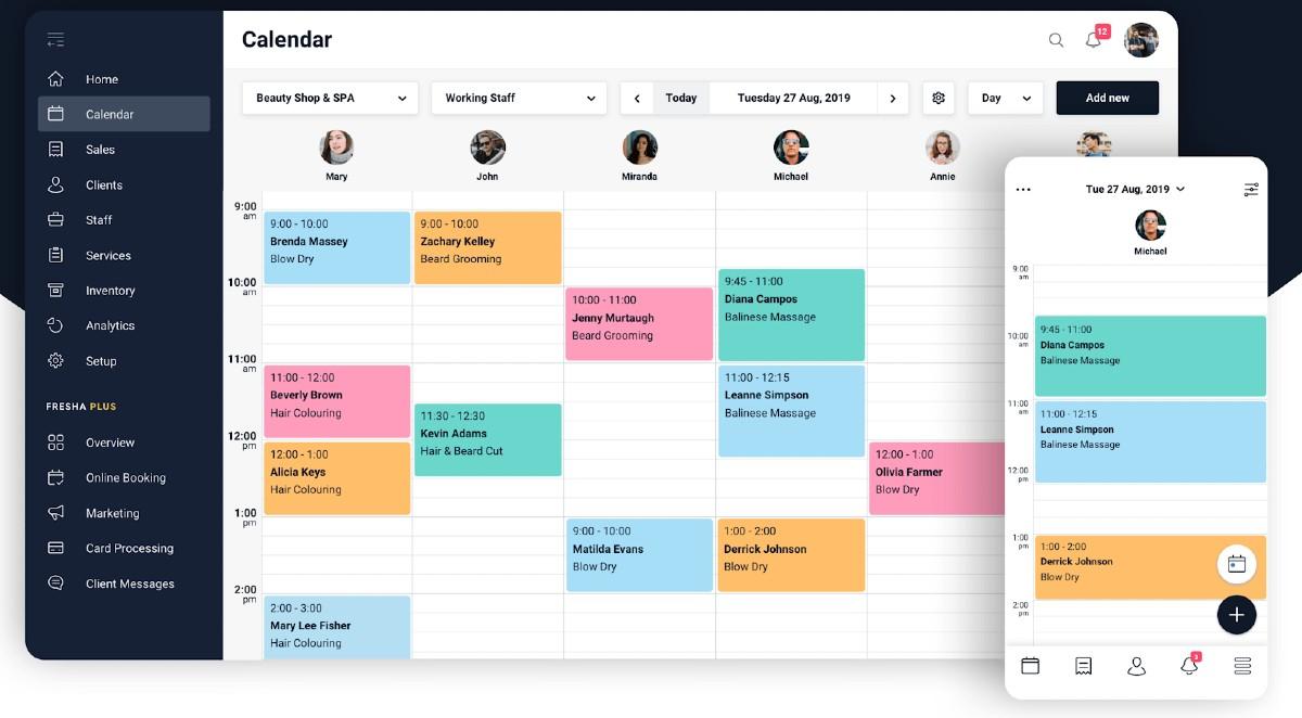 Screenshot of Fresha Calendar on Web and Mobile