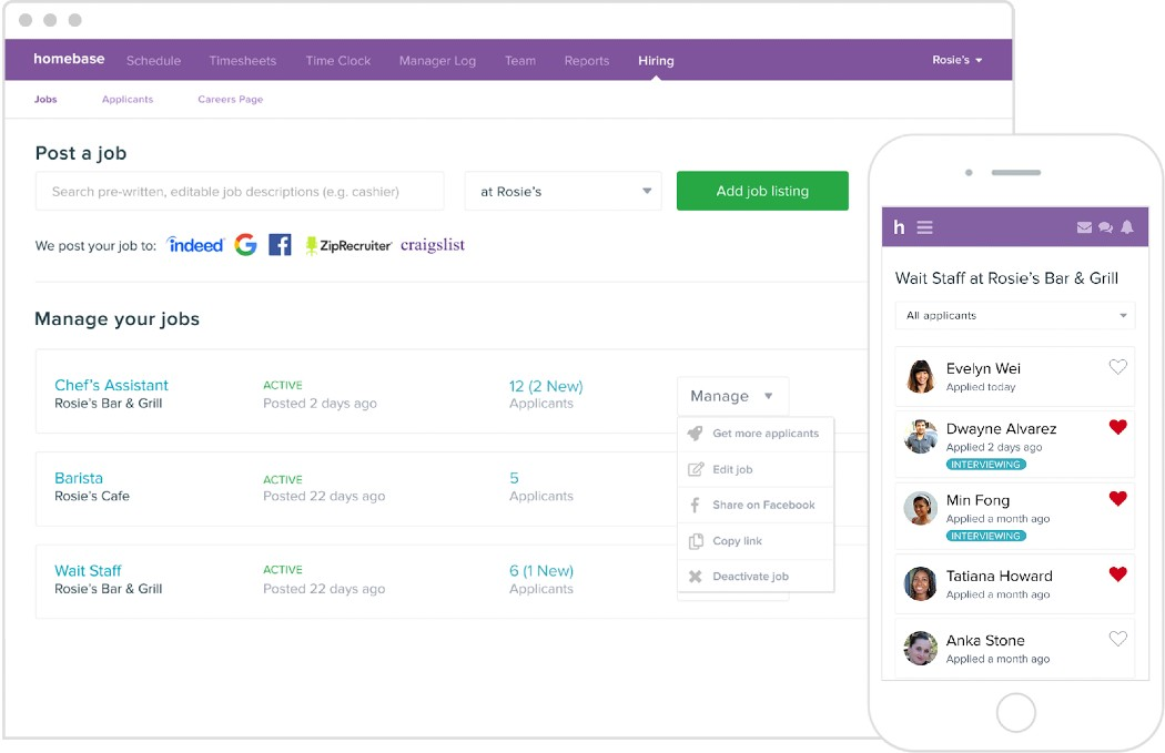 Screenshot of Homebase on Desktop and Mobile View