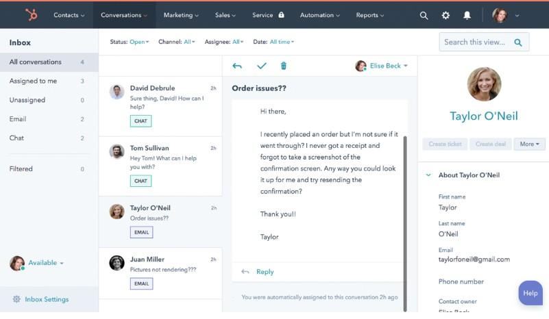 Screenshot of HubSpot Conversation Management