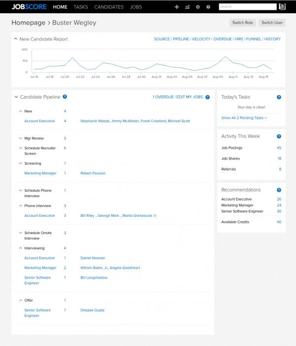 Screenshot of JobScore Homepage