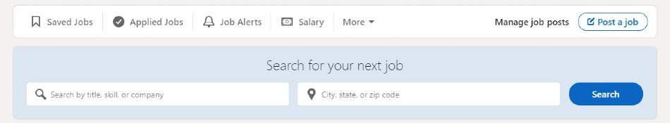 Screenshot of Job Search on LinkedIn
