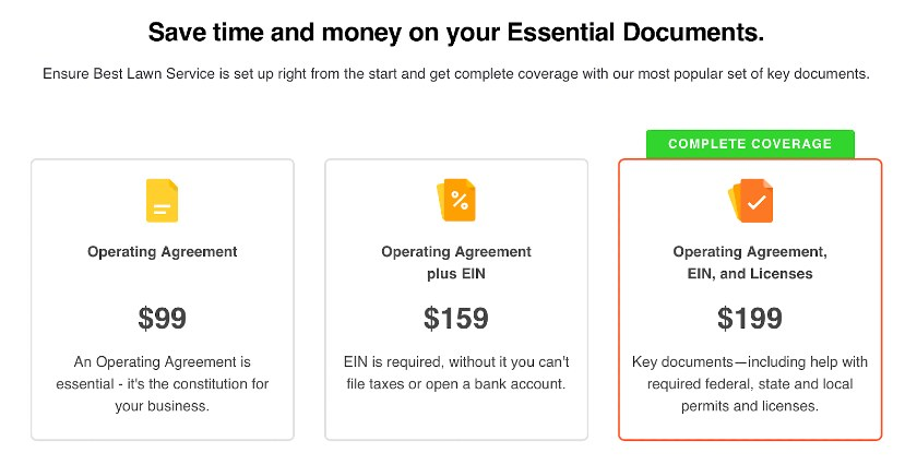 Screenshot of Legalzoom Pricing