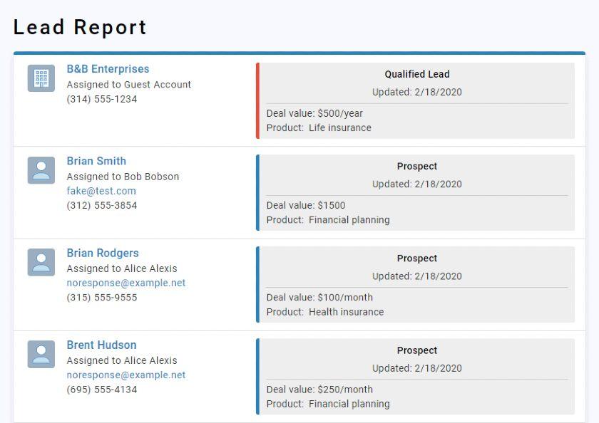 Screenshot of Less Annoying CRM Lead Report