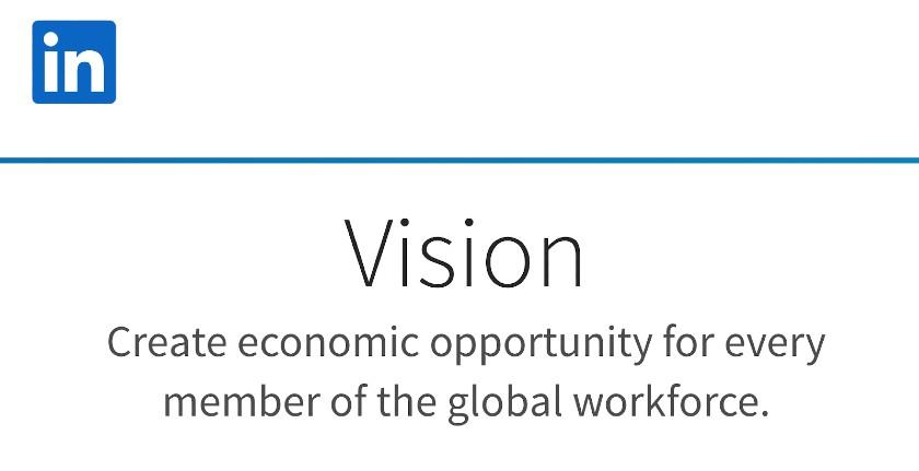 Screenshot of LinkedIn Vision Statement
