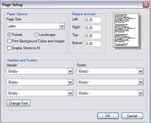 Screenshot of Page Setup