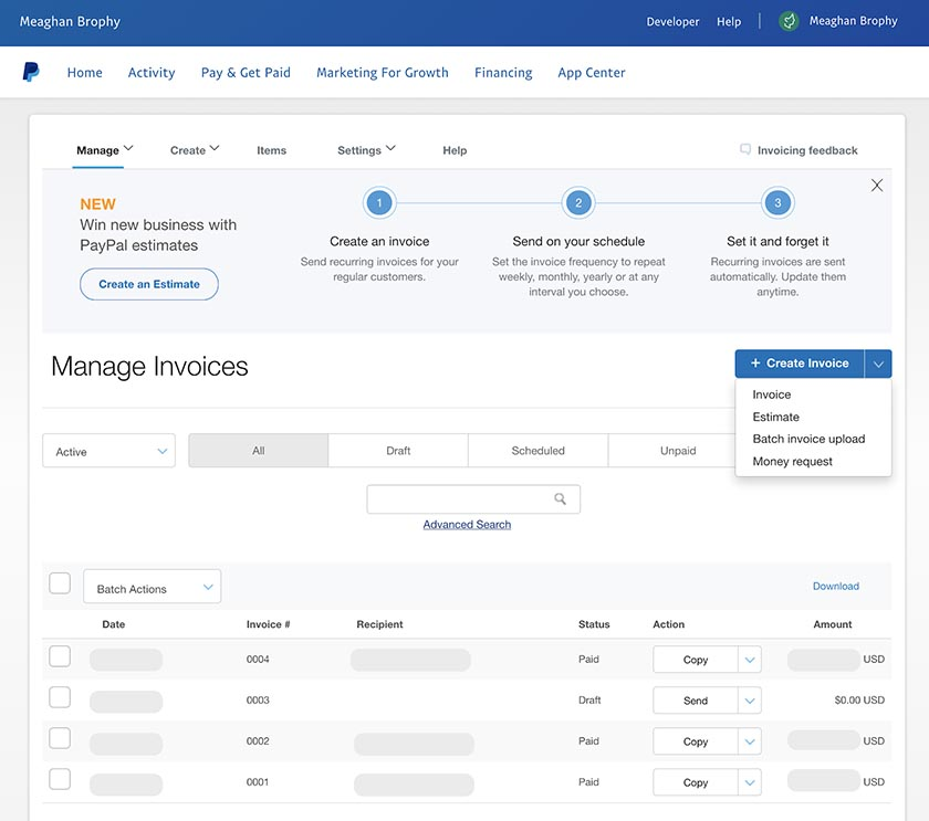 Screenshot of PayPal Invoicing Tools