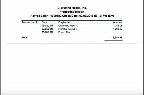 Screenshot of Payroll Report Review
