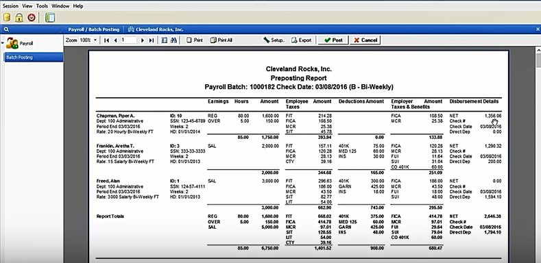 Screenshot of Ready to Print Preposting Report