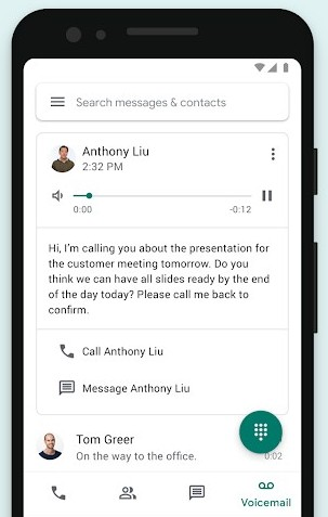Screenshot of Recordings on Google Voice