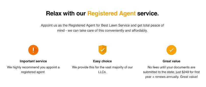 Screenshot of Registered Agent Service