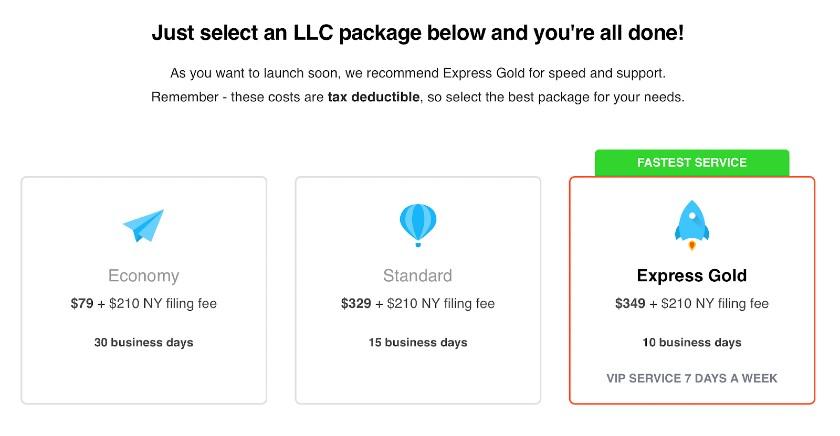 Screenshot of Selecting LLC Package