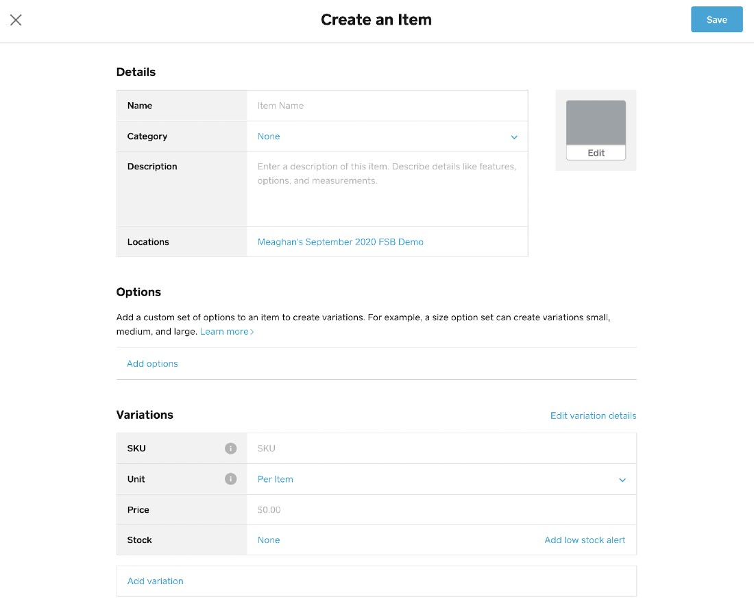 Screenshot of Setting Up Product List on Square