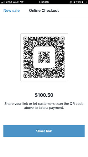 Screenshot of Sharing Link or Letting Customers Scan the QR Code