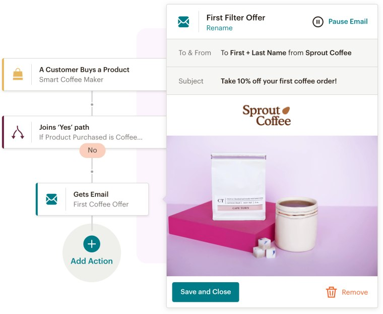 Screenshot of ShopKeep Integration with MailChimp