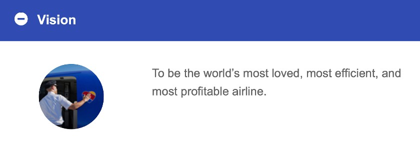 Screenshot of Southwest Airlines Vision Statement