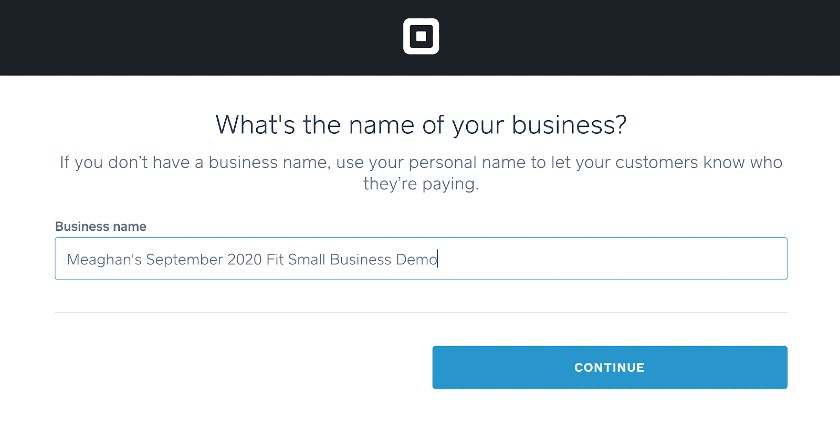 Screenshot of Square Enter Business Name