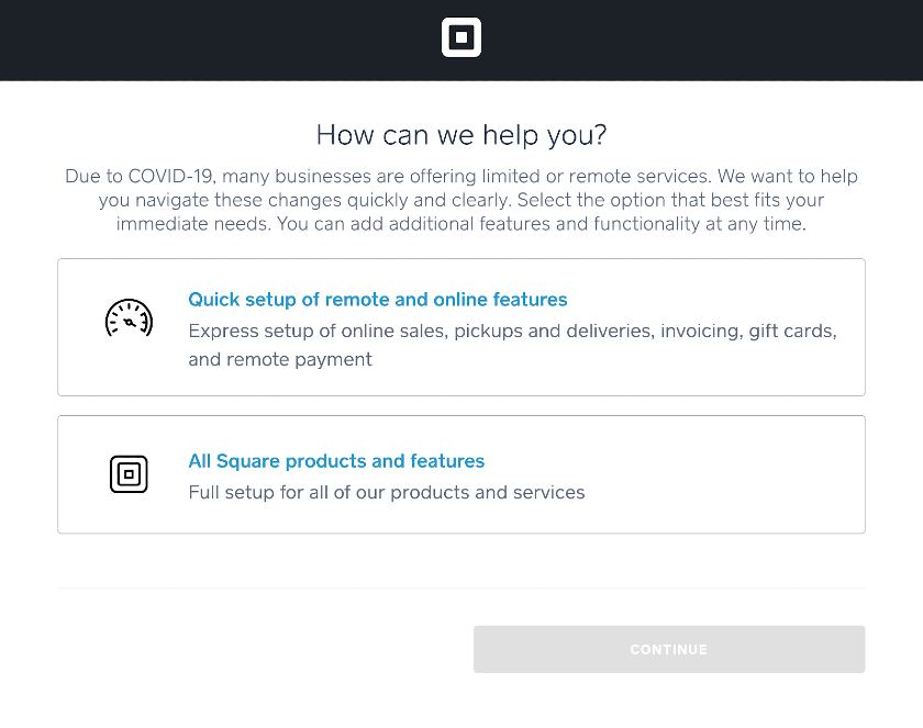 Screenshot of Square How Can We Help You Page
