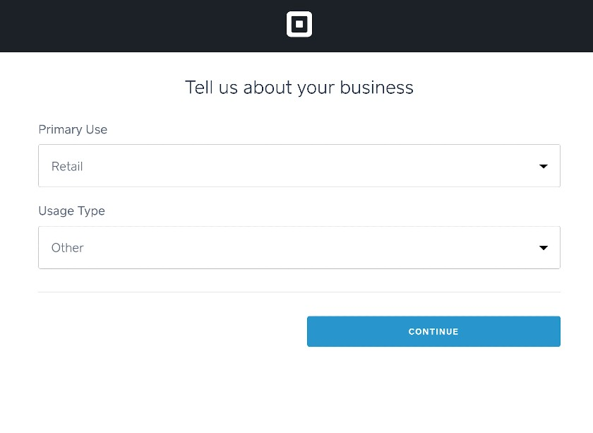 Screenshot of Tell Us About Your Business on Square